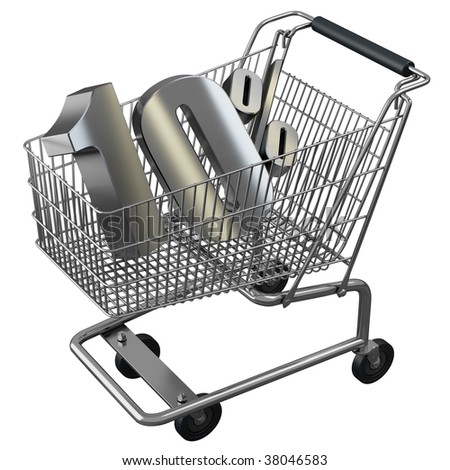 Shopping cart with 10% discount in silver