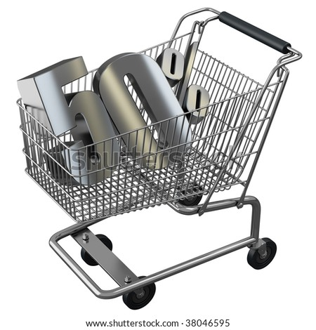 Shopping cart with 50% discount in silver