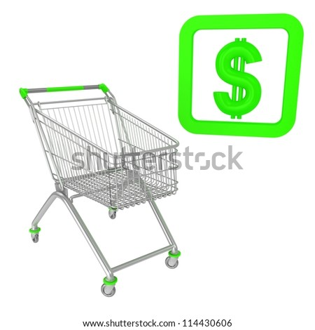 Shopping cart with dollar sign - stock photo