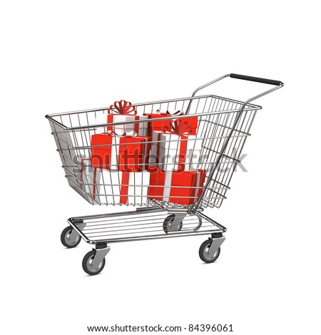 Shopping cart with gift boxes. Isolated on the white background.