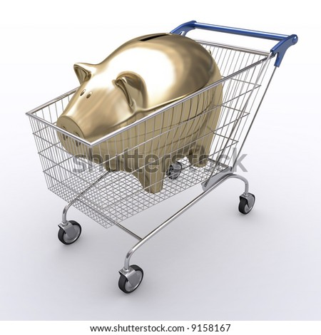 Shopping cart with golden piggy inside. Concept of spend money. - stock photo