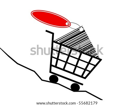 shopping cart with labeling and falling prices