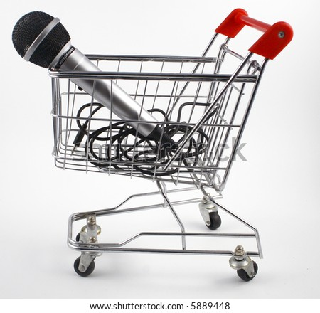 shopping cart with microphone - stock photo