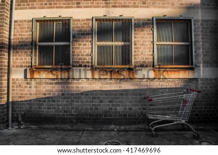Shopping cart with old building on the background. - stock photo