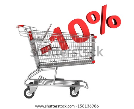 shopping cart with 10 percent discount isolated on white background