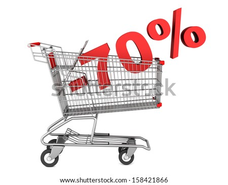 shopping cart with 70 percent discount isolated on white background