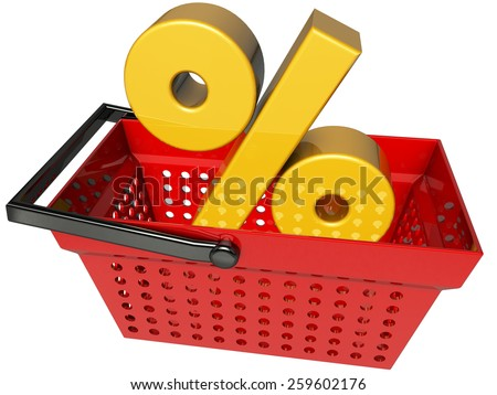 shopping cart with percentage symbol 3d rendering with clipping path