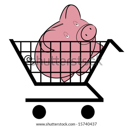 Shopping cart with piggy inside - money concept - stock photo