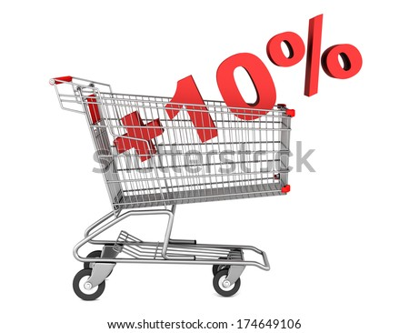 shopping cart with plus 10 percent sign isolated on white background