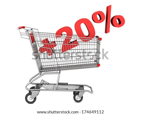 shopping cart with plus 20 percent sign isolated on white background