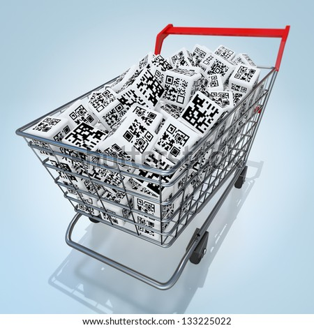 Shopping cart with QR codes - stock photo
