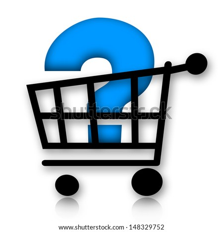 Shopping cart with question mark inside - stock photo