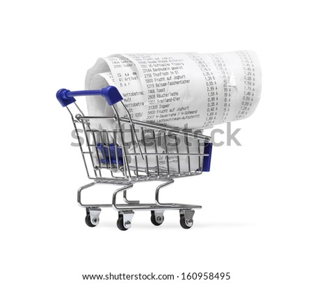 Shopping cart with receipts on white. Consumerism concept