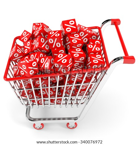 Shopping cart with red cubes with percent. White background. - stock photo