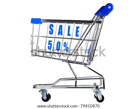 Shopping cart with sale 50% - stock photo