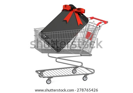 shopping cart with smartphone isolated on white background - stock photo
