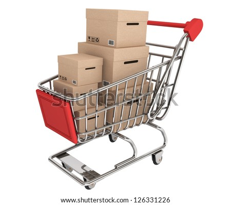 Shopping Cart with stack of boxes on a white background - stock photo