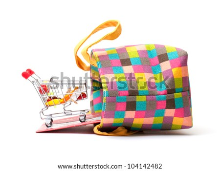 Shopping Cart with Vibrant Bag on white background