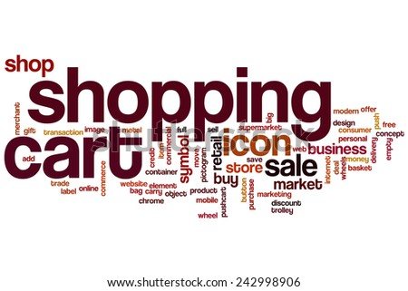 Shopping cart word cloud concept with sale shop related tags - stock photo