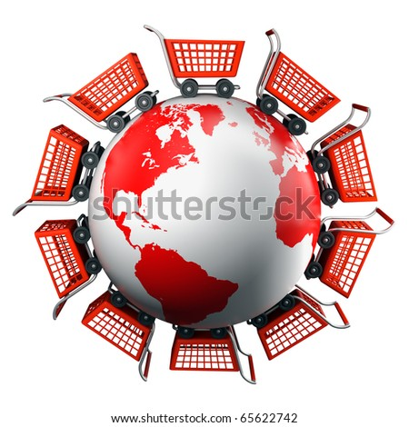 Shopping carts around the world, global market concept - stock photo
