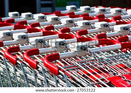 shopping carts closeup - stock photo