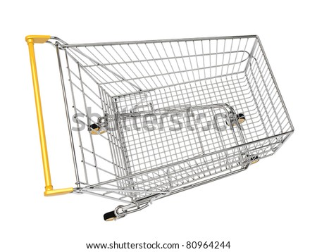 Shopping carts on wheels is isolated on a white background