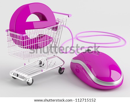 shopping carts operated computer mouse - the symbol of e-commerce - stock photo