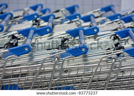 shopping carts stacked up - stock photo