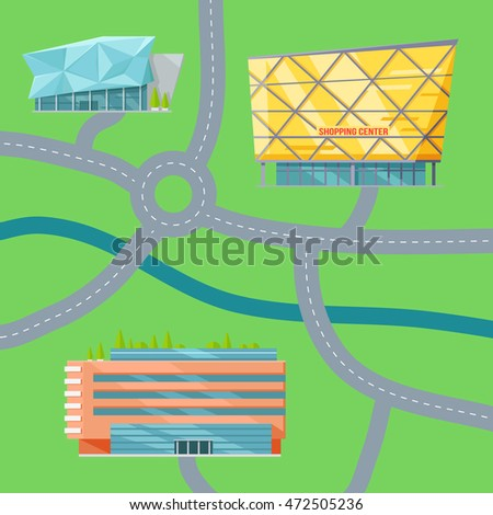 Shopping center map concept. Flat design. Modern commercial building  illustrations for web design, navigation services, banners. Shop, mall, supermarket, business center on color background.