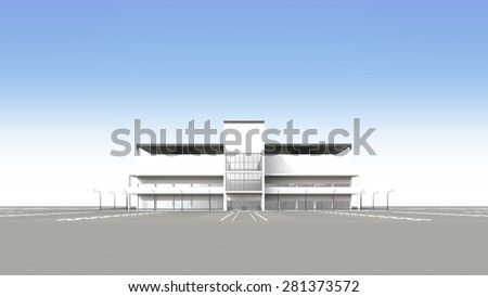 Shopping centers large parking lot is empty - stock photo