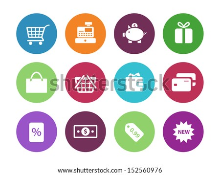Shopping circle icons on white background. See also vector version.