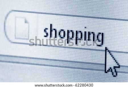 Shopping, computer screen - stock photo