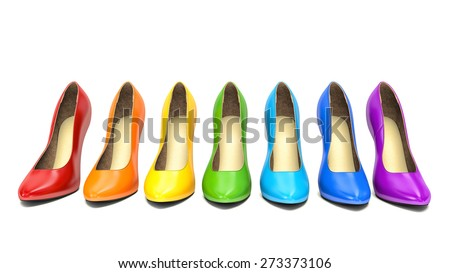 Shopping concept. Choice of colored high heels shoes on white  - stock photo
