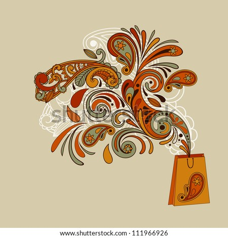 shopping concept with a shopping bag and floral swirl paisley elements flying from it  paisley elements