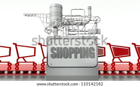 Shopping concept with carts and machine