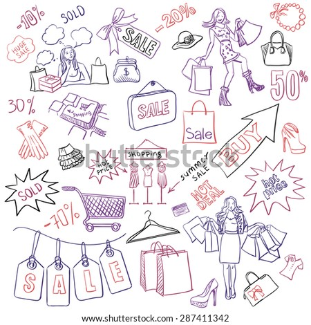 Shopping doodles, Sale. hand drawn style. - stock photo