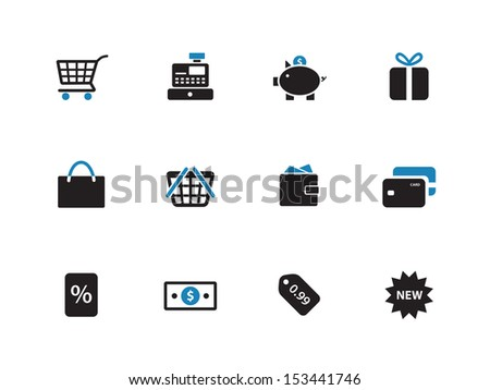 Shopping duotone icons on white background. See also vector version.