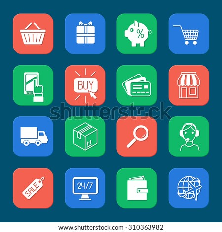 Shopping e-commerce online payment and delivery services icons set isolated  illustration