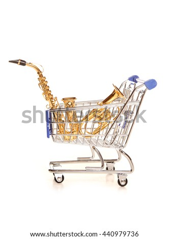 Shopping for a musical instrument cutout - stock photo