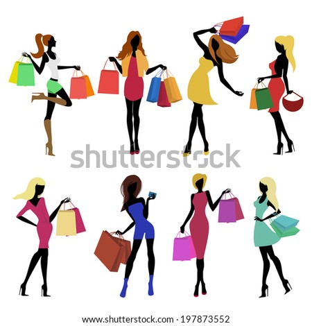 Shopping girl female figure silhouettes with sale bags isolated  illustration.