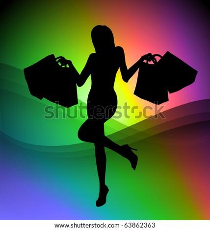 Shopping girl illustration on colorful background - stock photo