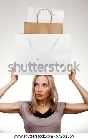 shopping girl. seasonal sale - stock photo