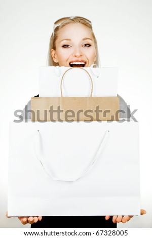 shopping girl. seasonal sale - stock photo