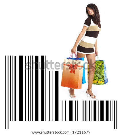 Shopping girl with bag on bar code - stock photo