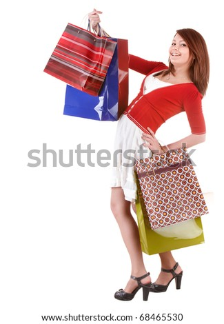 Shopping girl with group bag. Isolated.
