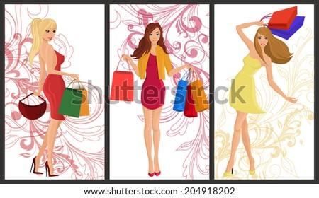 Shopping girl young sexy females with fashion bags vertical banners with swirl decoration set isolated  illustration - stock photo