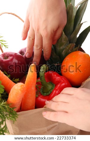 Shopping grocery bag - stock photo