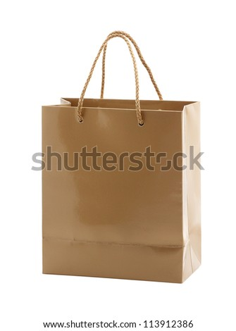 shopping handbag isolated on white - stock photo