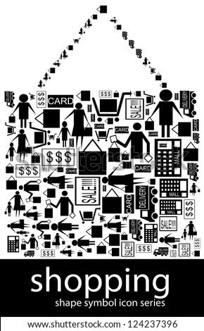 Shopping icon symbols composed in the shape of a shopping bag