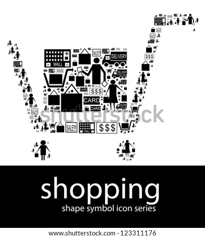 Shopping icon symbols composed in the shape of a shopping cart trolley